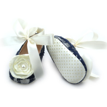 Fancy Lace Cotton Flower Dress Shoes Baby