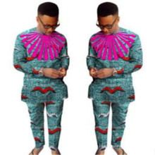 Fall ethnic tribal flora print long sleeves loose fit African clothing java wax 100% cotton men's shirt and pants Dashikis set