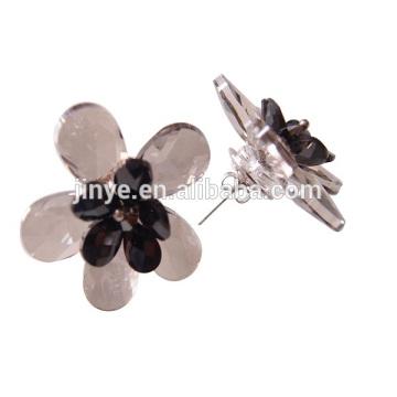 Boucles d'oreille de fleur de cristal fumé audacieux faites à la main pour la partie ou montre