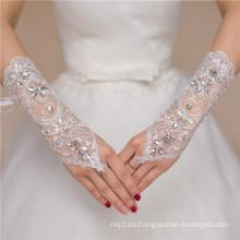 Lace appliques fingerless rebordear la longitud de la muñeca de alta calidad de encaje guante de la boda