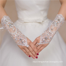 Lace appliques fingerless beading wrist length high quality wedding lace glove