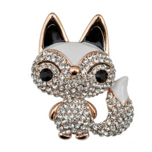 Fashion Rhinestone Zinc Alloy Fox Brooch for Women
