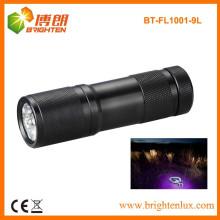 Fabrik Großhandel CE gute Qualität 380-385nm 9LED Aluminium UV LED Taschenlampe für die Suche nach Skorpion und anderen Insekt