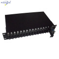dual power supply 19inch rack mounted 16 slots media converter rack