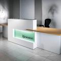 mesa de recepção moderna branca de mármore