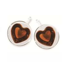 Copo de café em forma de coração desobstruído bonito dupla camada