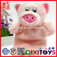 Brinquedo de pelúcia estilo realista design animal, fantoche de mão de forma de porco rosa de pelúcia para crianças