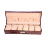 2014 China factory exporter luxury 6 slots red croco PU leather watch box