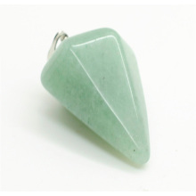6 side coin Shape Green Aventurine pendant