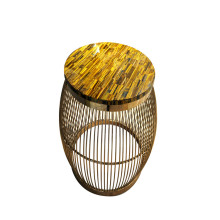 Oeil de tigre CANOSA jaune table basse d'or inox
