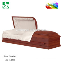 red wood velvet interior casket beds