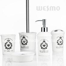 Crackle glaseado accesorios de baño de porcelana con calcomanía (WBC0611A)