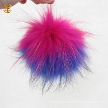 Colorido Real peludo piel de mapache peludo pieles Pom Poms para las mujeres sombrero de invierno y el casquillo