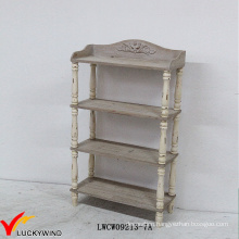 Floor Standing Antique Wooden 4 Tier Display Shelf