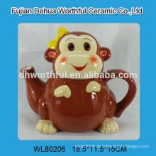 2016 fábrica de venta directa de cerámica tetera en forma de mono