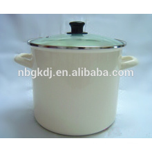 glass lid white enamel stock cooking pot