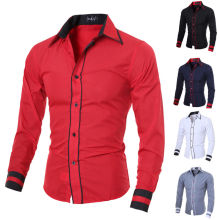 Männer Luxuriöse beiläufige stilvolle dünne Sitz-lange Hülse beiläufige Hemden