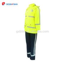 Impermeable reflexivo modificado para requisitos particulares barato de alta seguridad de la seguridad que arropa con los bolsillos traje alto