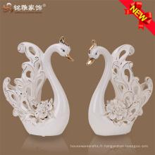 Vente en gros usine prix artisanat cadeau de mariage céramique sculpture creuse blanc cygne à vendre