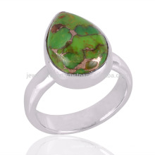 Bester Preis Natürlicher grüner Kupfer Türkis Edelstein mit 925 Sterling Silber Ring
