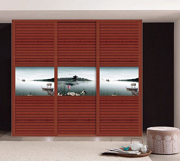Red wood grain wardrob door aluminum profile