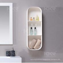 Solid surface bathroom shelf corner