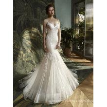 Spaghetti Lace Mermaid vestido de noiva vestido de noite