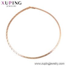 44188 -Xuping Jóias Moda top Quality 18 k banhado a ouro cadeias colar sem pedra imitação de jóias