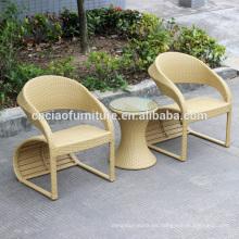 Juego de mesa de centro de ratán beige de diseño especial