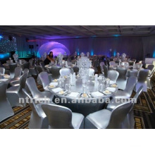 luxe!!! Couverture de chaise de bronzage argentée pour mariage, couverture de chaise de lycra, brillante