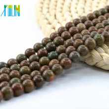 L-0132 Gorgeous natural redondo pulido Jasper colores naturales piedras preciosas perlas 15 pulgadas Strand por hilo