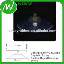 Buena copa de succión adhesiva de 50 mm de transparencia con tornillo