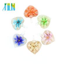 MC0047 Wholesale Inner Flower Lampwork Pendants Heart Shape Necklace Art and Craft Handmade Pendant