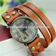 New arrival multilayer eiffel tower leather vintage unisex western wrist watch