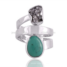 Natural meteorito áspero y tibetano turquesa piedras preciosas 925 plata esterlina spinner anillo