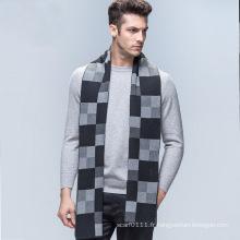 La mode des hommes à carreaux motif laine tricoté hiver longue écharpe (YKY4605)