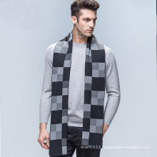 Men′s Fashion Checked Pattern Wool Knitted Winter Long Scarf (YKY4605)