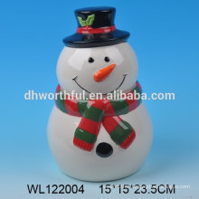 Cutely ceramic storage tank with snowman figure