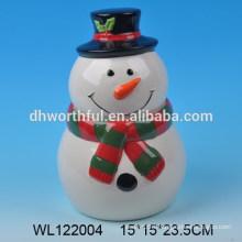 Cutely ceramic storage tank with snowman figure