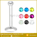 Gold Titanium Plated Surgical Steel Monroe Internally Threaded Labret Body Piercing