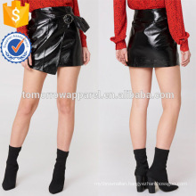 Black Wrap Front Mini Summer Skirt With Belt Manufacture Wholesale Fashion Women Apparel (TA0047S)