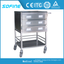 SF-HW2030 hospital use stainless steel tray trolley