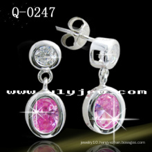 Fashion 925 Silver Colorful CZ Dangle Earrings (Q-0247)