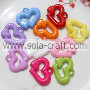 Design 4*22*25MM Jelly Colors Fashion Heart Spacer Beads Wholesale