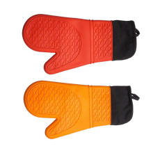 Extra Long Cotton Lining Heat Resistant BBQ Silicone Gloves