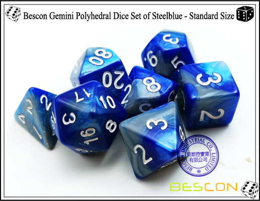 Bescon Gemini Polyhedral Dice Set of Steelblue-3
