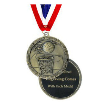 Engraved Gold Soccer Medal With V-neck Ribbon