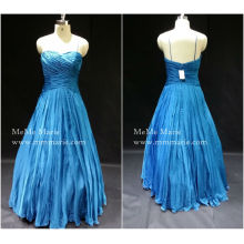 [В наличии] открытой спиной спагетти ремень милая складки линия бальное платье вечернее платье выпускного вечера платье баю-14055