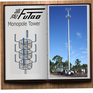 30M 40M Galvanized Monopole Tower With Slip Joint
