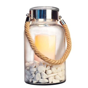 Europe style for Light Lantern White Roofless Nautical Glass Lantern with LED Candle supply to Armenia Factories